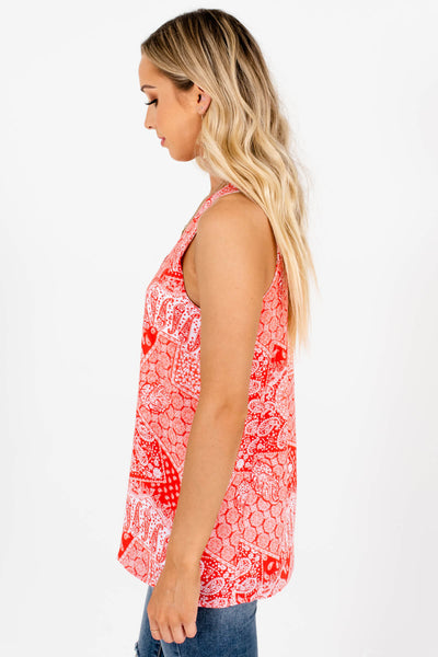 Red White Paisley Bandana Print Tank Tops with Full Lining