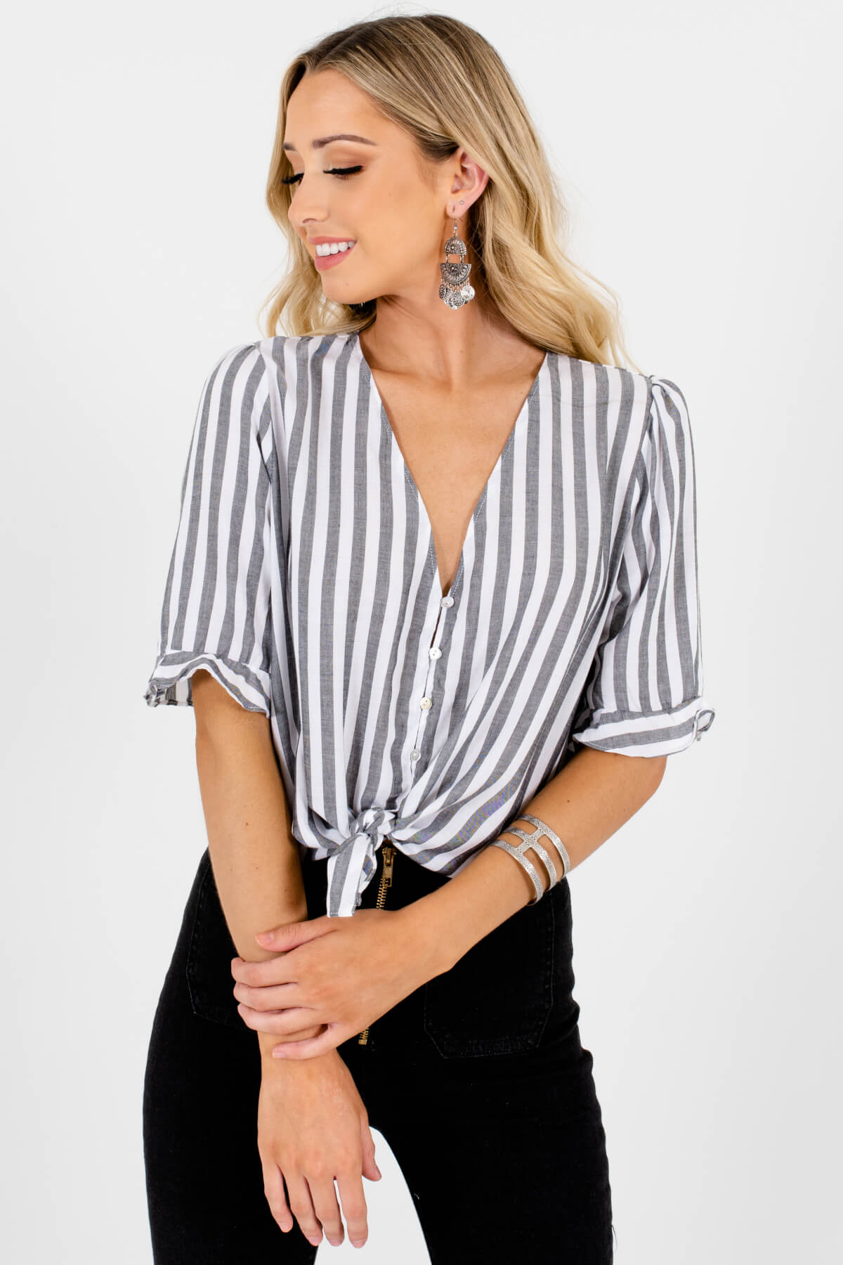 White Gray Striped Button-Up Ruffle Shirts Affordable Online Boutique