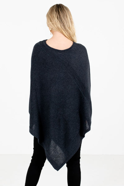Women's Charcoal Gray Asymmetrical Hem Boutique Poncho Sweater