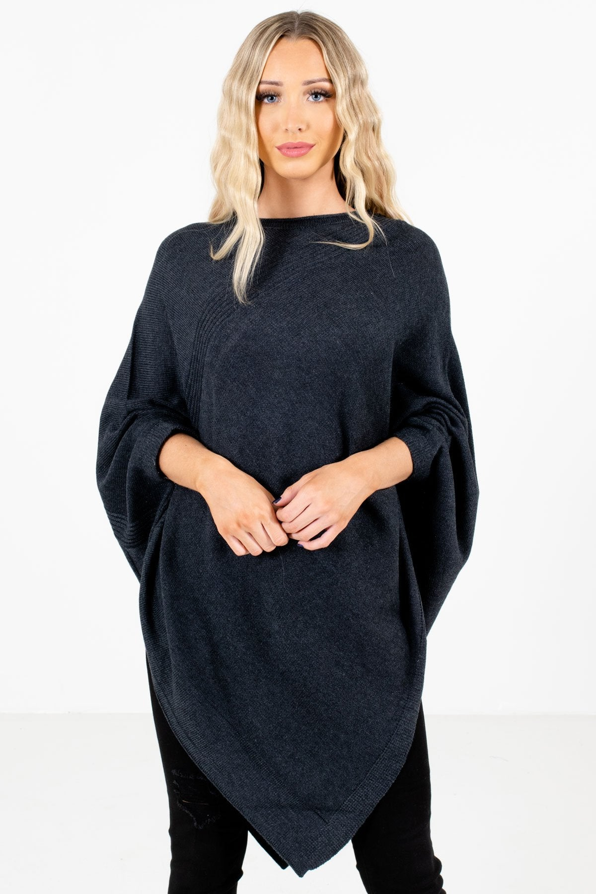 Charcoal Gray High-Quality Knit Material Boutique Ponchos for Women