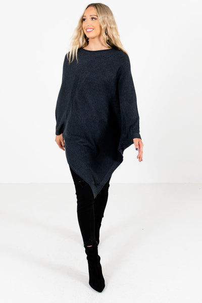 Women's Charcoal Gray Warm and Cozy Boutique Sweater Ponchos
