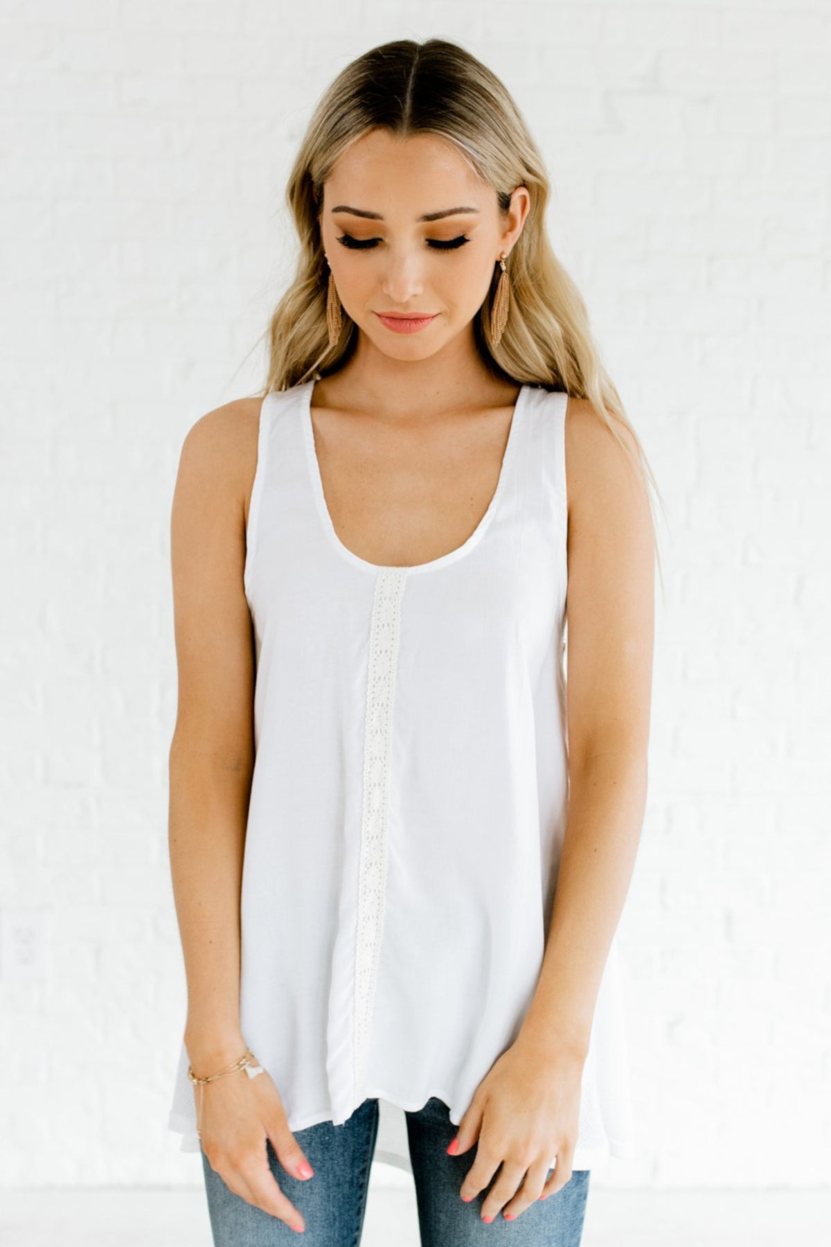 White High-Low Hem Style Stone Washed Boutique Tank Tops for Women