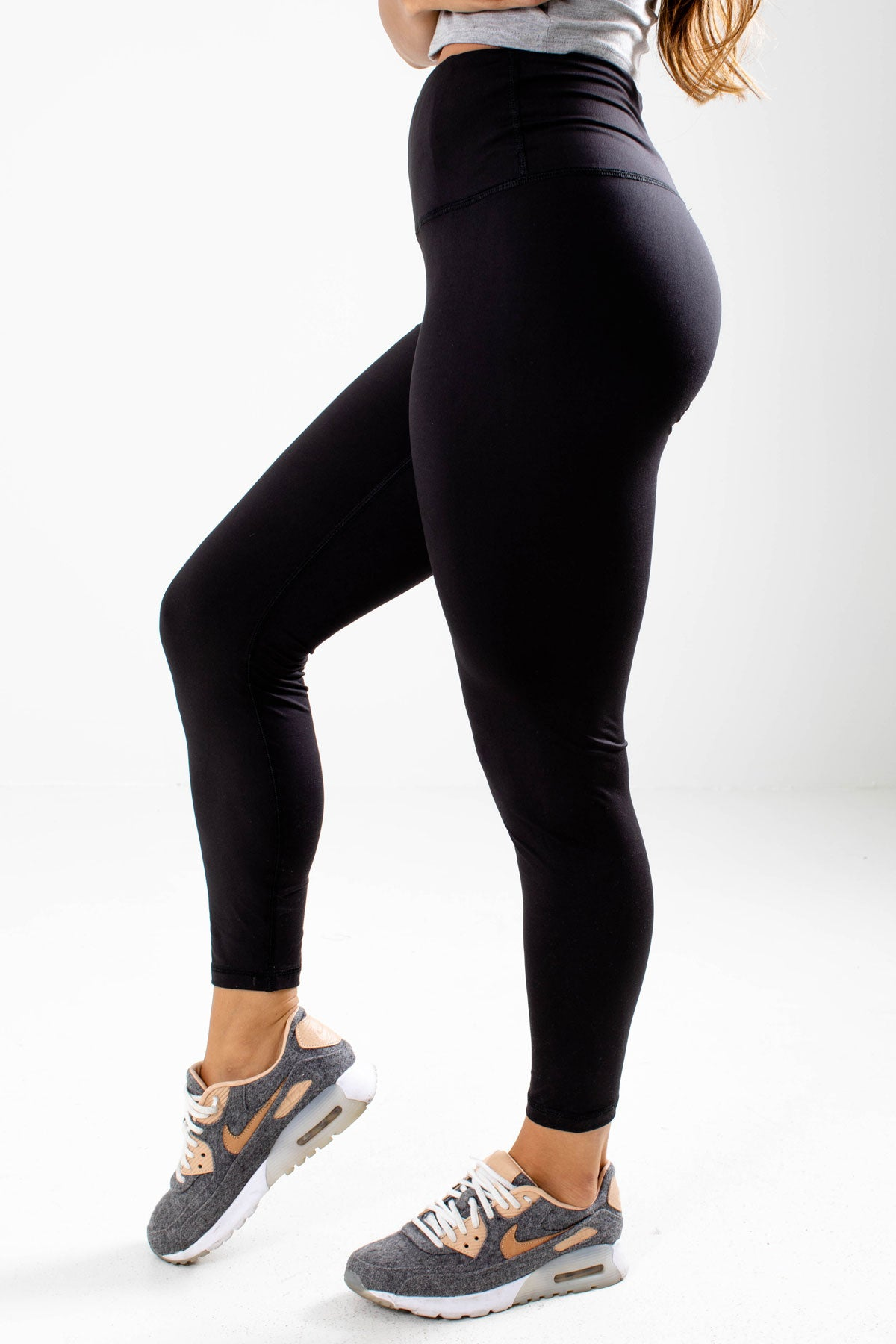 Black High-Waisted Boutique Active Leggings for Women