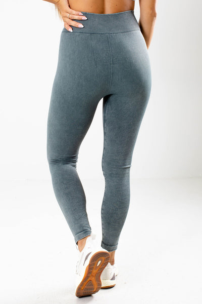 Women's Blue Textured Accented Boutique Active Leggings