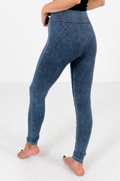 Women's Blue High Waisted Style Boutique Active Leggings