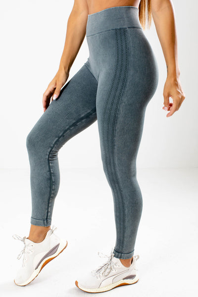 Blue High Waisted Boutique Active Leggings for Women