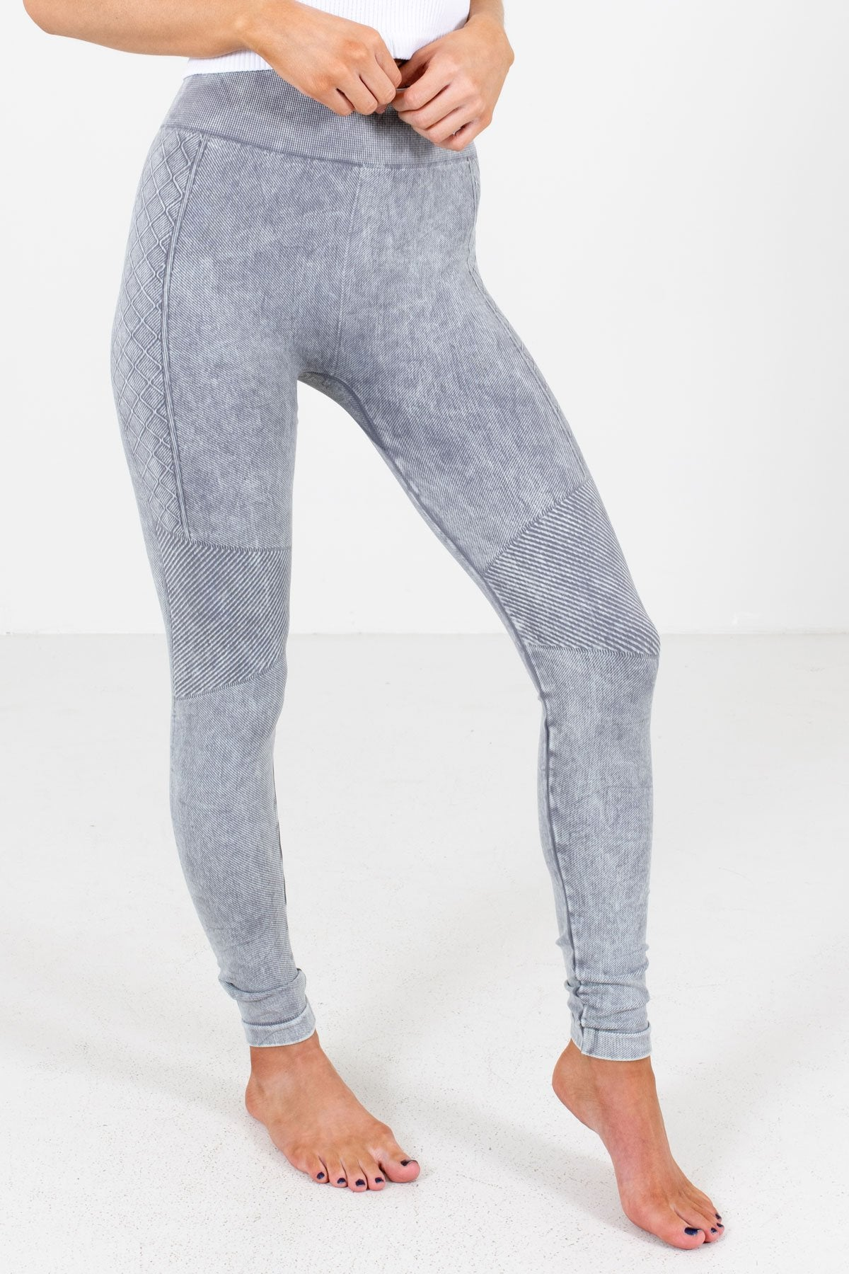 Charcoal Gray Mineral Wash Boutique Active Leggings for Women