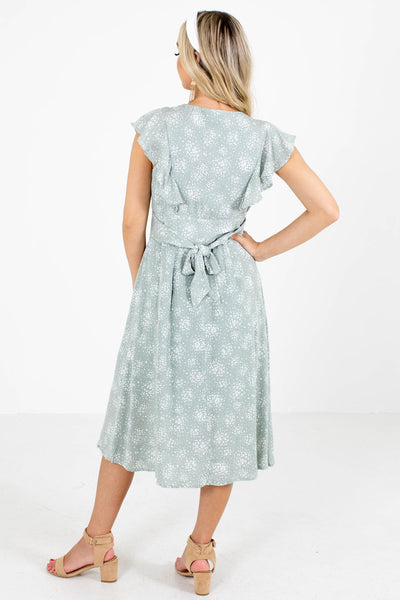 Women's Sage Green Button-Up Front Boutique Midi Dress