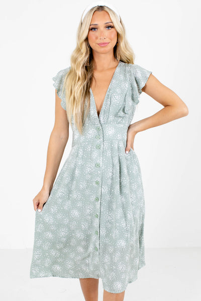Sage and White Patterned Boutique Midi Dresses for Women