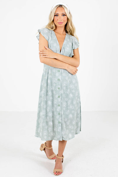 Sage Green Cute and Comfortable Boutique Midi Dresses for Women