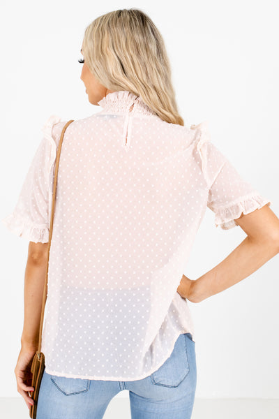 Women's Blush Keyhole Back Boutique Blouse