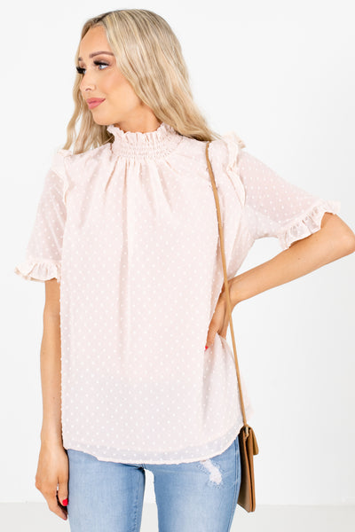 Blush Polka Dot Textured Boutique Blouses for Women