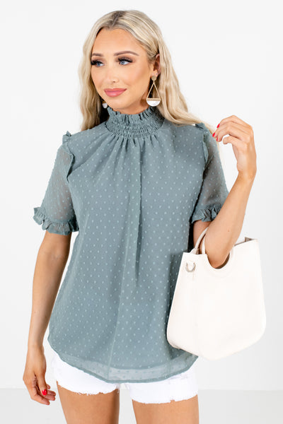 Green Ruffle Accented Boutique Blouses for Women