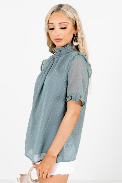 Women's Green Lightweight High-Quality Boutique Blouse
