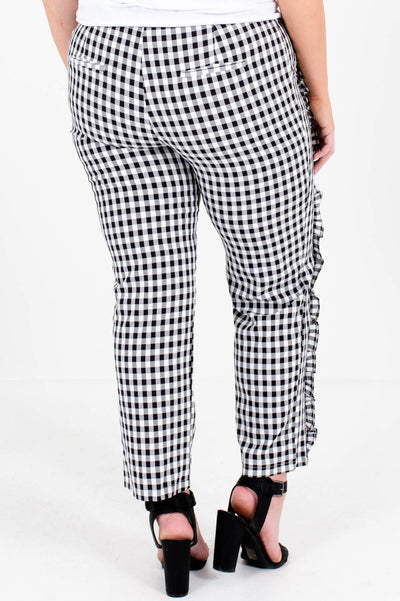 Black White Gingham Ruffle Pants Plus Size Boutique for Women
