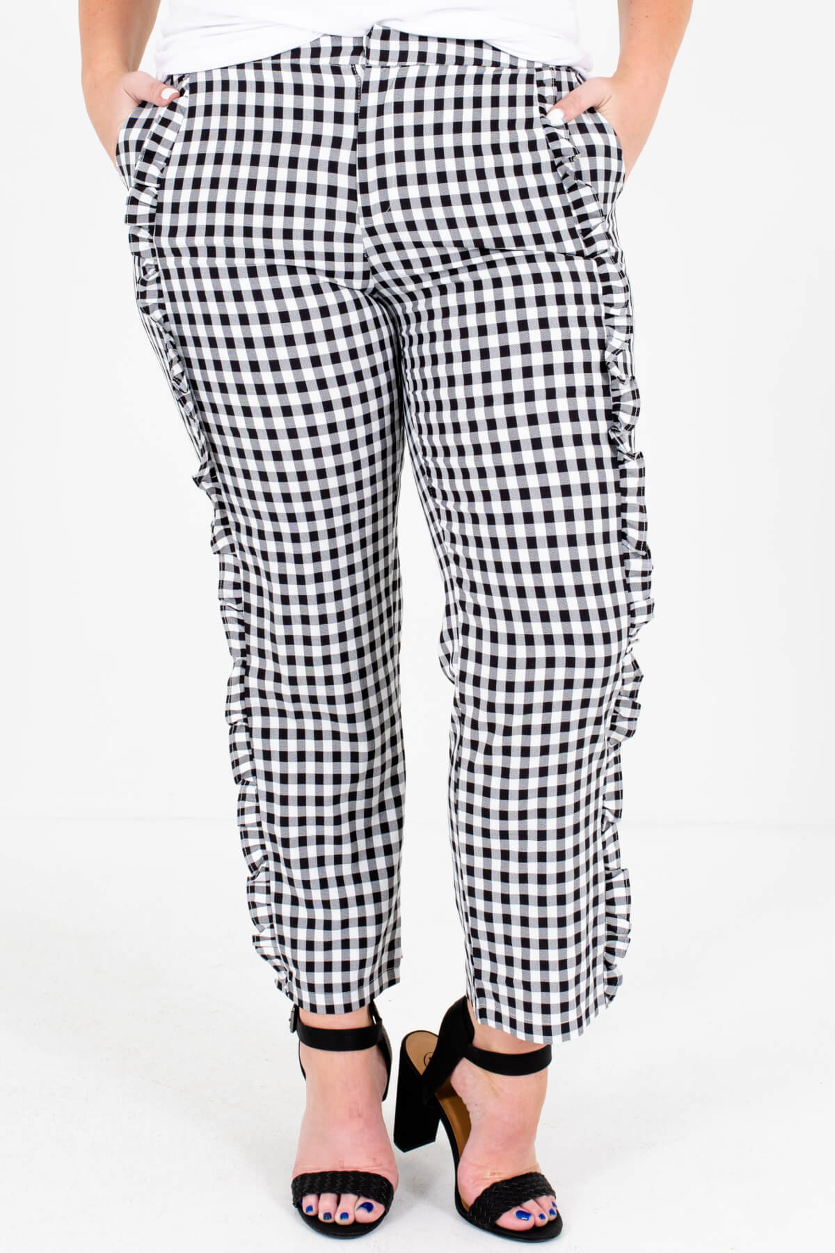 Black White Gingham Pants Plus Size Boutique Fashion for Women