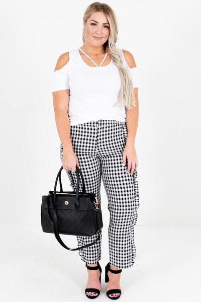 Black White Gingham Ruffle Plus Size Boutique Pants for Women