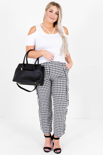 Black White Gingham Ruffle Plus Size Pants Affordable Boutique
