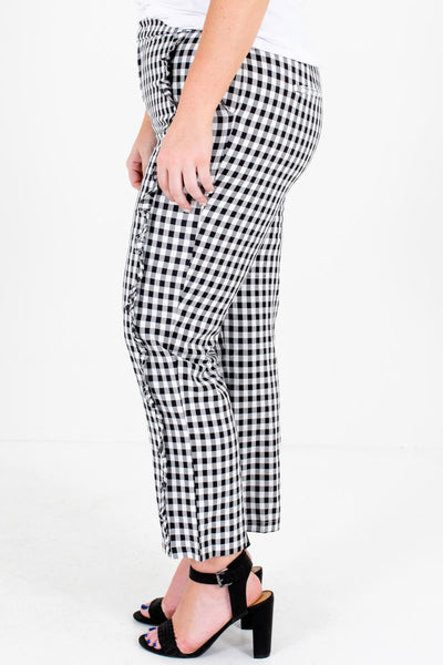 Black White Gingham Ruffle Plus Size Pants for Women