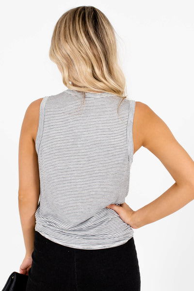 Women's White Tie Front Detail Boutique Tank Top