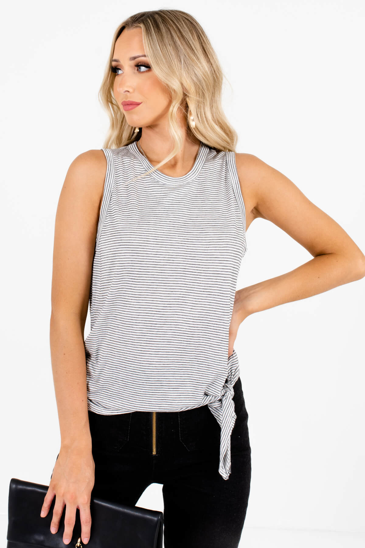 White and Black Stripe Patterned Boutique Tank Tops for Women