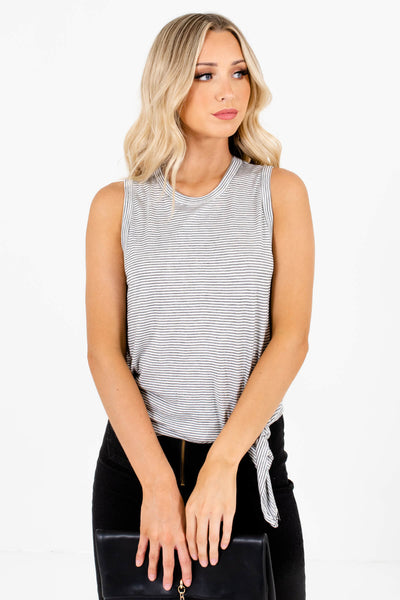 Women's White Stretchy Material Boutique Tank Top