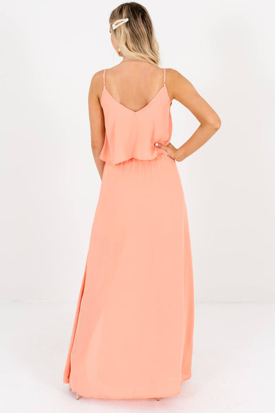 Women's Peach Pink Adjustable Spaghetti Strap Boutique Maxi Dress