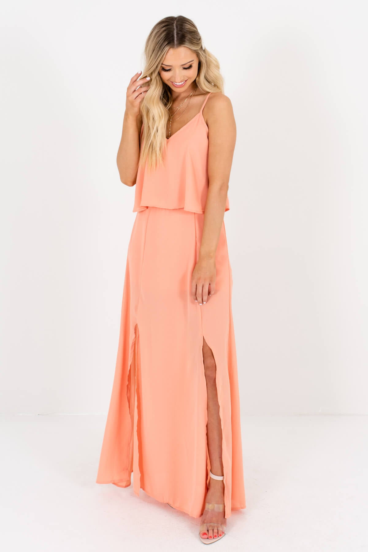 Peach Pink Boutique Maxi Length Dresses for Women