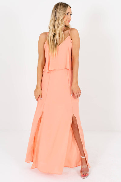 Peach Pink Ruffle Overlay Bodice Boutique Maxi Dresses for Women