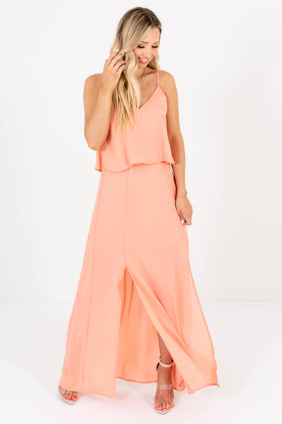 Peach Pink Cute and Comfortable Boutique Maxi Dresses for Women