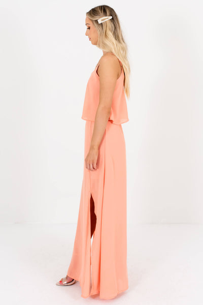 Women's Side Hem Slits Boutique Maxi Length Dress