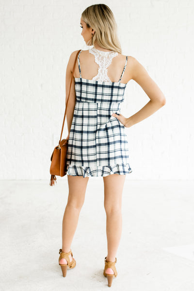 Blue and White Plaid Women's Tank Top Style Boutique Mini Dress