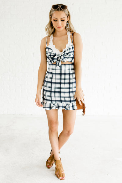 Blue and White Plaid Affordable Online Boutique Clothing for Women