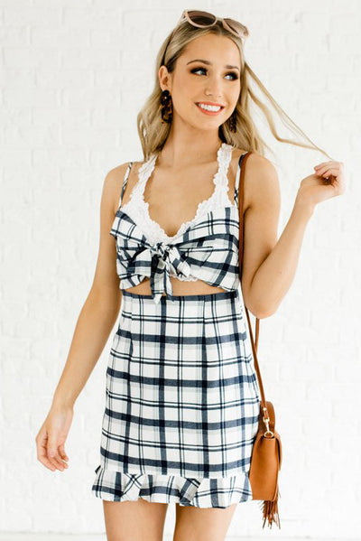 White and Blue Plaid and Gingham Boutique Mini Dresses for Women
