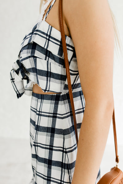 Blue and White Plaid Cute Boutique Clothing for Women