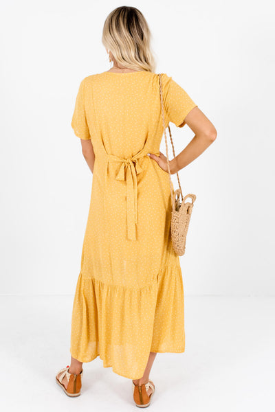 Mustard Yellow Polka Dot Button Up Maxi Dresses for Women