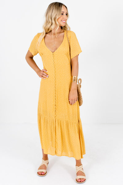 Mustard Yellow Polka Dot Button Up Maxi Dresses Boutique