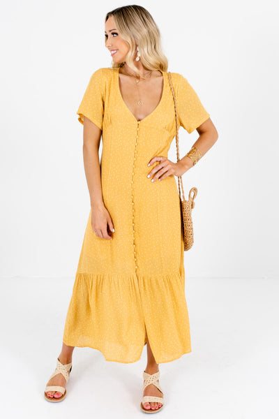 Yellow White Polka Dot Maxi Dresses Affordable Online Boutique