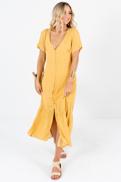 Mustard Yellow Polka Dot Maxi Dresses Affordable Online Boutique