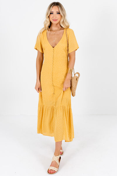 Mustard Yellow White Polka Dot Button Up Maxi Dresses for Women