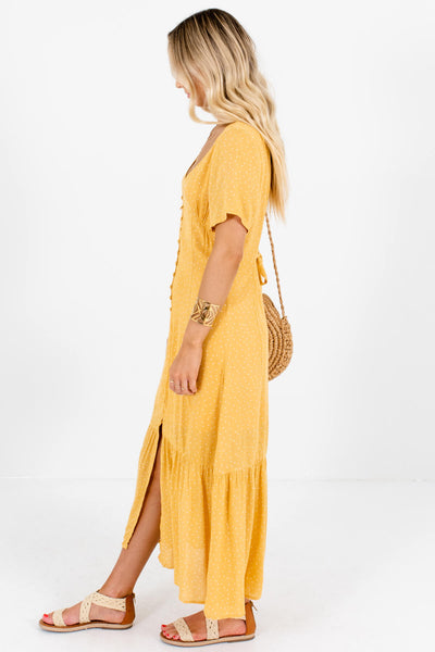 Mustard Yellow Polka Dot Print Button Up Maxi Dresses for Women