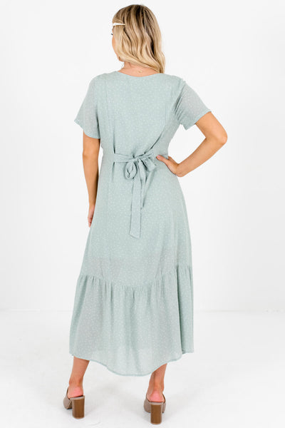 Light Sage Green Polka Dot Button Up Maxi Dresses for Women
