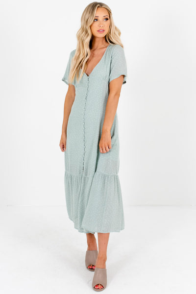 Light Sage Green Polka Dot Button Up Boutique Maxi Dresses