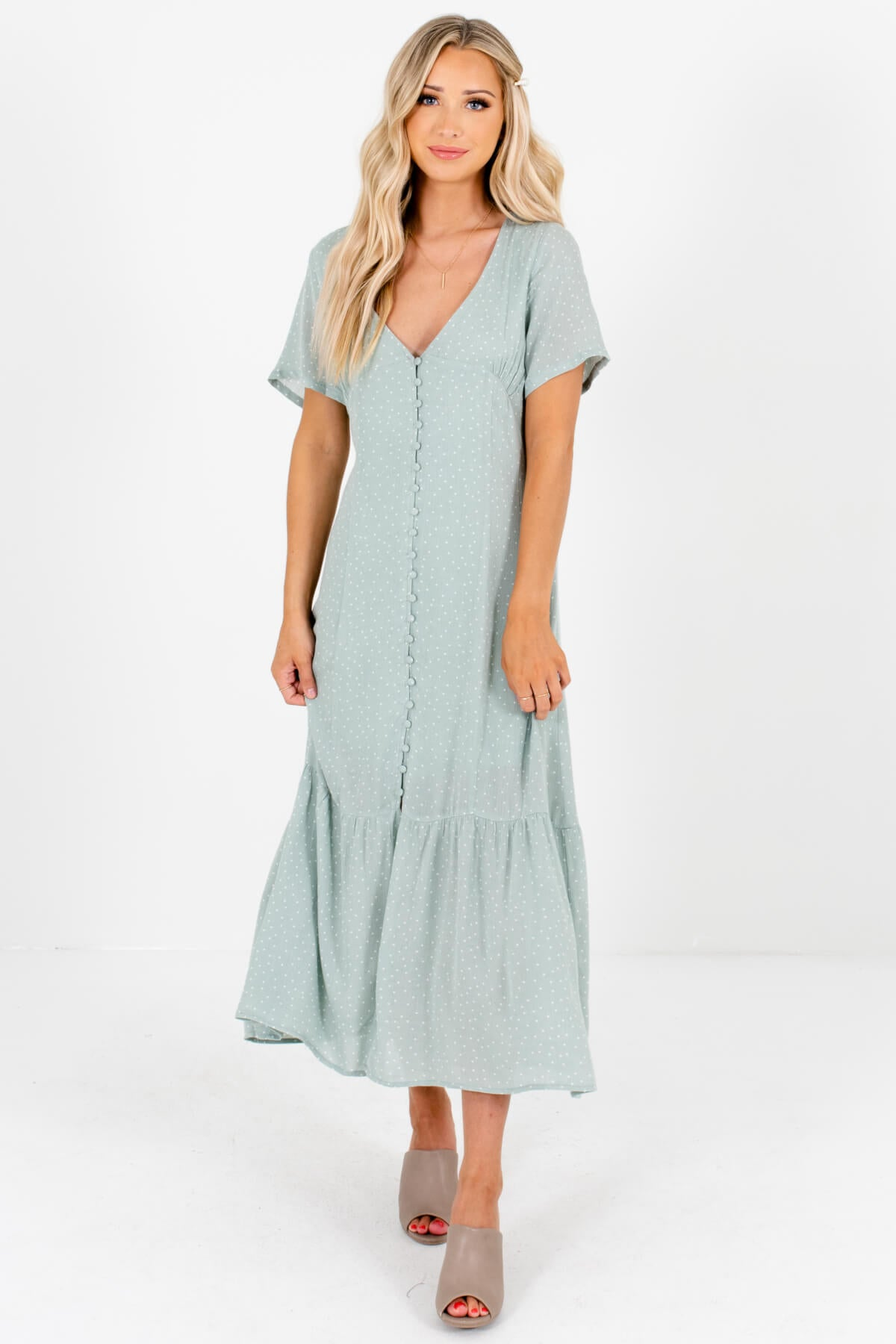 Sage Green Polka Dot Button-Up Maxi Dresses Affordable Online Boutique