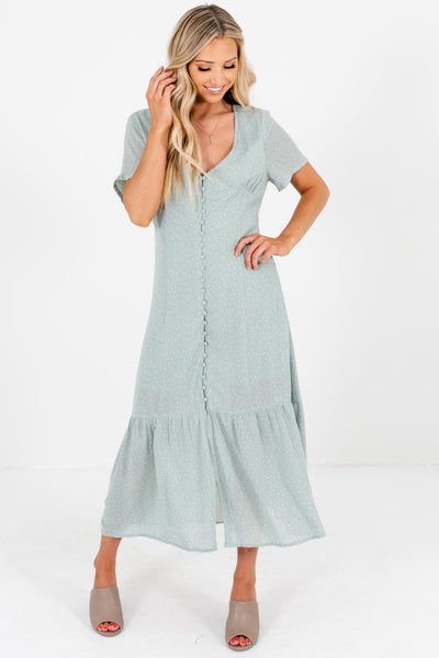 Light Sage Green Polka Dot Button-Up Maxi Dresses for Women