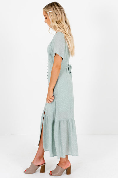Sage Green White Polka Dot Print Button Up Maxi Dresses for Women