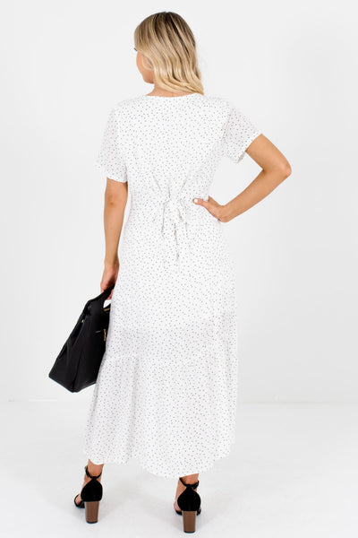 White Black Polka Dot Print Button-Up Maxi Dresses for Women