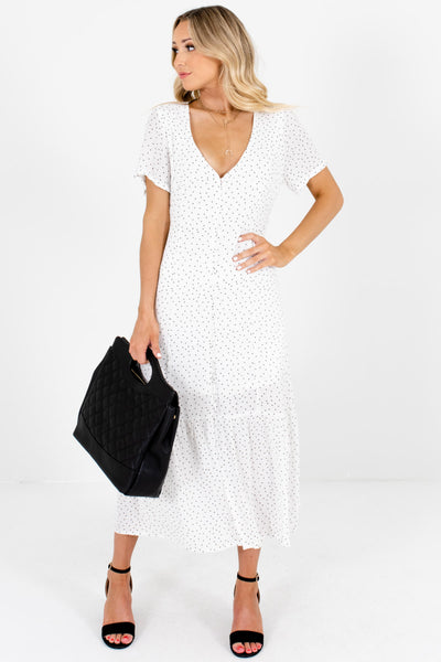 White Black Polka Dot Print Button Up Maxi Dresses