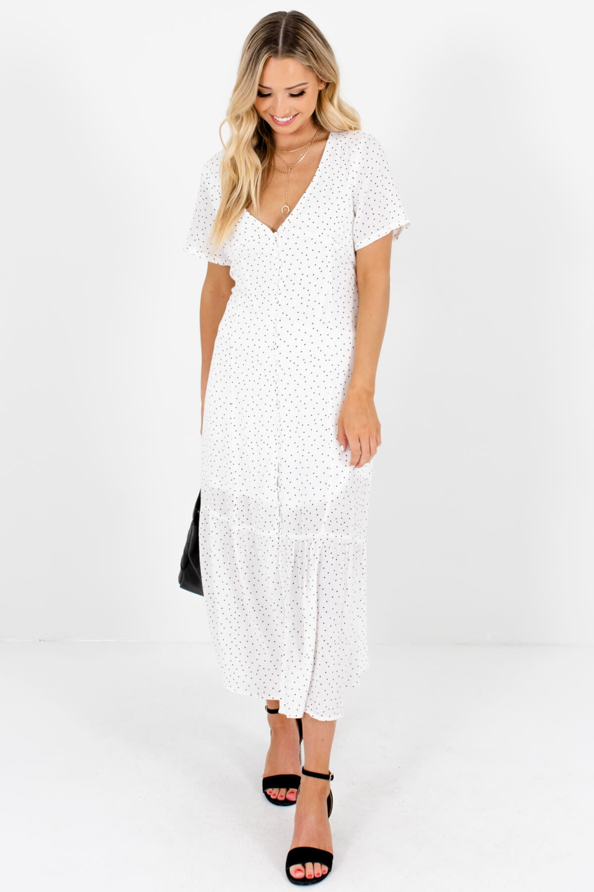 White Black Polka Dot Button-Up Maxi Dresses Affordable Online Boutique