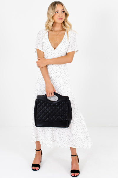 White Polka Dot Print Button Up Maxi Dresses with Back Tie Detail